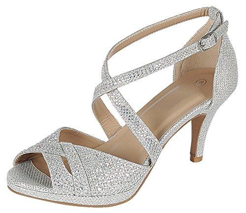 Cambridge Select Women's Peep Toe Mid Heel Sandal