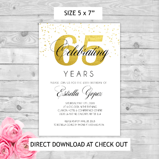 instant download editable pdf print yourself 65th golden themed birthday invitation