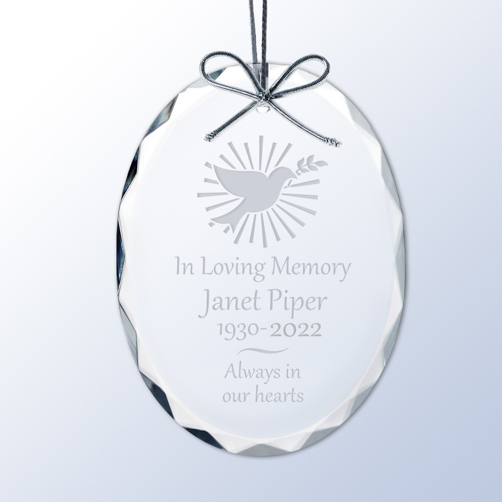 Personalized Memorial Crystal Christmas Ornament