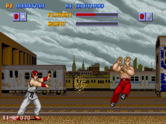 Ryu soltando hadouken em Street Fighter