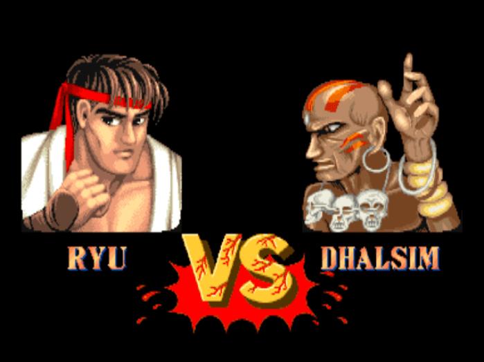 Ryu x Dhalsim em Street Fighter II
