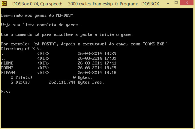 DOSBox com mensagens