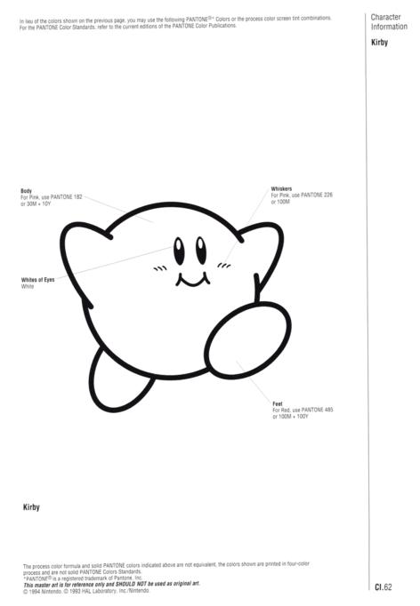 Nintendo Official Character Manual Kirby Pantone