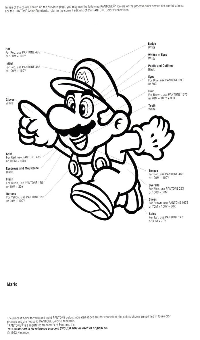 Nintendo Official Character Manual Mario Pantone