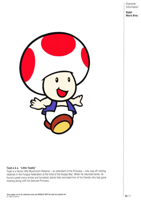 Nintendo Official Character Manual Toad Perfil