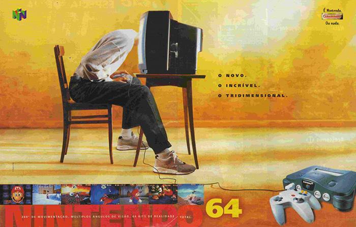 Anúncio do Nintendo 64 feito no Brasil. Circulou nas revistas a partir de outubro de 1996.
