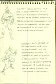 Esboços do descartado personagem Rokuro, e uma das versões possíveis de Liu Kang.