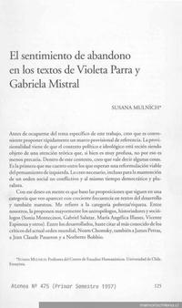 El sentimiento de abandono en los textos de Violeta Parra y Gabriela Mistral