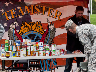 Teamster crew helping with food donations