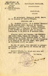 Certificat d'arrestation d'Irène Némirovsky, signé du maire d'Issy-l'Évêque, 26 mars 1945.  © Fonds Irène Némirovsky / IMEC