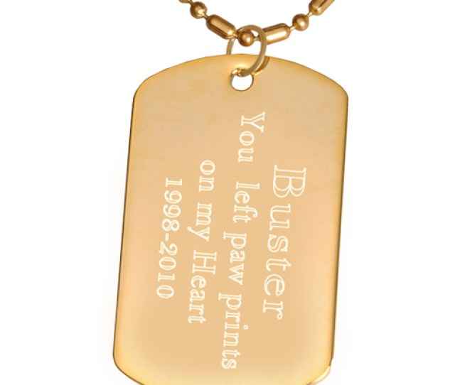 Engraved Gold Plated Dog Tag Pendant With Chain Block Text