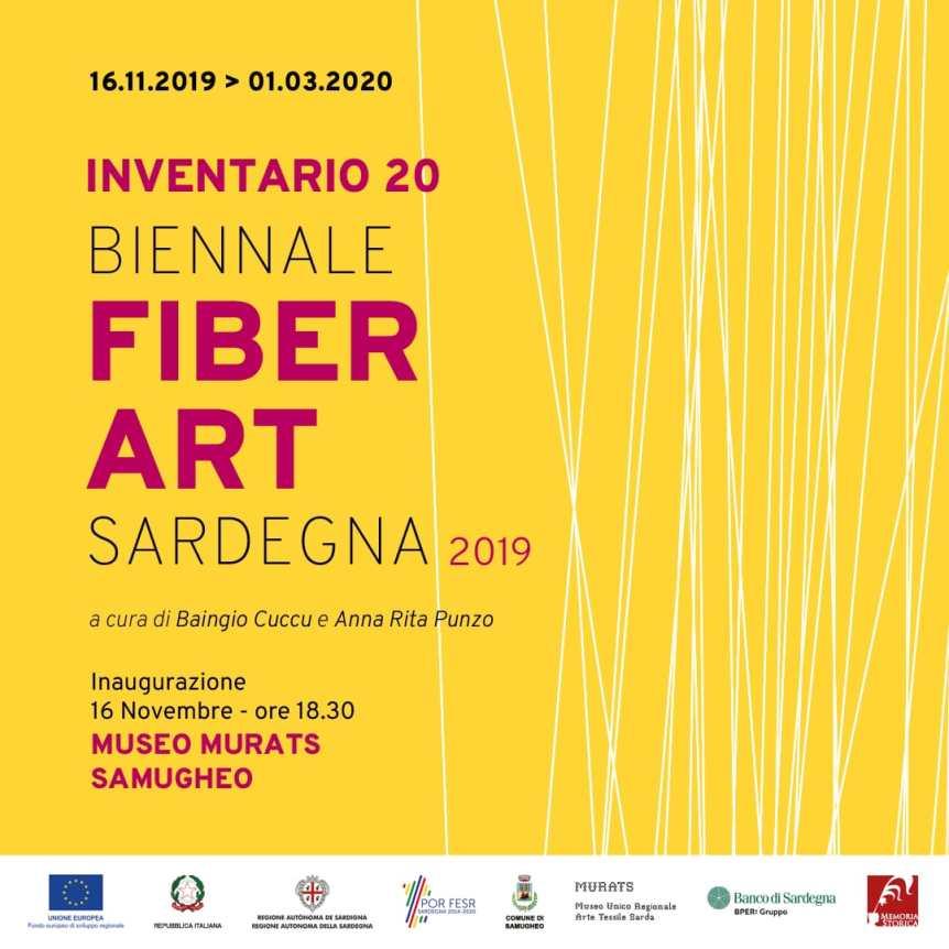 Locandina prima bienn ale fiber art Sardegna