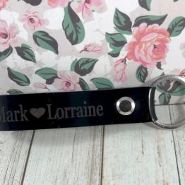 IMG 1111 e1536570423309 - Personalised Black Patent Genuine Leather Keyring