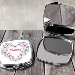 Mummy Floral Heart - Mummy Foral Heart Compact Mirror