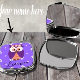 Purple Owl POCM106 Compact Mirror Case - Personalised Cute Purple Owl Compact Mirror