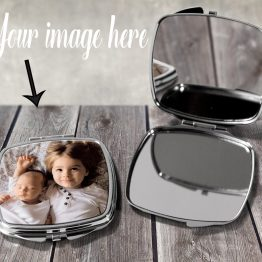 listing OneOpenOneClosed - Personalised Image Square Compact Mirror