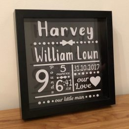 3BB01288 CEB9 41C7 A5EC D423B370C959 - Personalised Baby Birth Announcement Black Frame