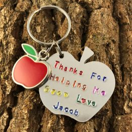 IMG 5169 - Apple Thank You For Helping Me Grow Aluminium Hand Stamped Keyring