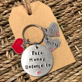 This Mummy Belongs To 2 - This (Family Member Name) belongs to handstamped keyring
