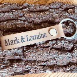 IMG 0599 - Personalised Beige Genuine Leather keyring