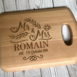 IMG 0748 - Personalised Mr & Mrs Surname and Date Wedding Anniversary Chopping Board Gift