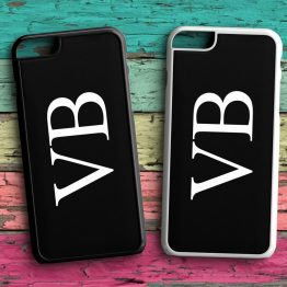 Personalised Initials iPhone 7 Black White Case - Personalised Side Ways Initial Name Wedding Phone Case