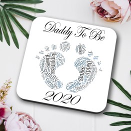 Daddy Baby Feet 2020 Single Coaster Square Hardboard - Daddy To Be 2020 Coaster
