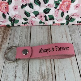 IMG 1129 - Personalised Baby Pink Genuine Leather Keyring