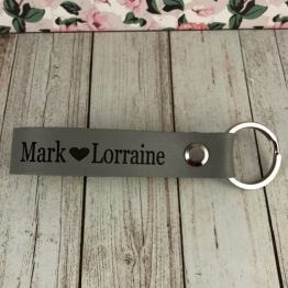 IMG 1131 e1536777940105 - Personalised Dove Grey Genuine Leather Keyring