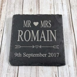 IMG 1151 e1537449410321 - Personalised Mr & Mrs Surname / Date, Slate Coaster engraved Gift