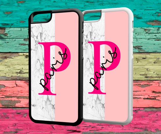 Initials Name IN128 rubber iPhone 7 Black White Case - Personalised Initial - Name Wedding Hard Phone Case