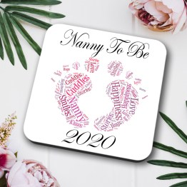 Nanny Baby Feet 2020 Single Coaster Square Hardboard - Nanny To Be 2020 Coaster