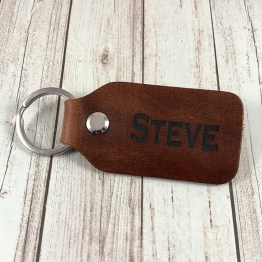 Personalised Name Message Leather Genuine keyring Luggage Tag Anniversary - Personalised Distressed Leather Name Keyring