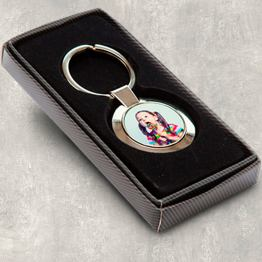 round keyring wbox - Personalised Photo Round Metal Keyring