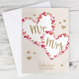 GC00624 2 - Personalised Mr & Mrs Confetti Hearts Wedding Card