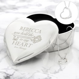 P0102U52 Personalised Key to My Heart Trinket Box Necklace Set - Fashion & Accessories