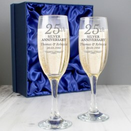 P0307H02 - Personalised 25th Silver Anniversary Pair of Flutes With Gift Box