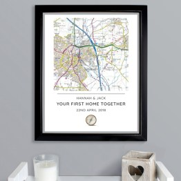 P0512AA09 - Personalised Present Day Map Compass Black Framed Poster Print