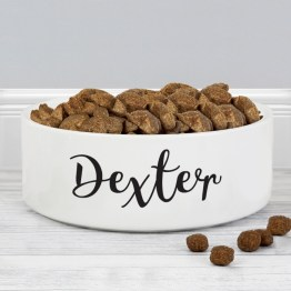 P0805I22 5 Personalised Any Name 14cm Medium White Pet Bowl - Personalised Any Name 14cm Medium White Pet Bowl