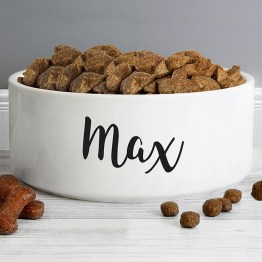 P0805I27 5 Personalised Any Name 16cm Large White Pet Bowl 1 - Personalised Any Name 16cm Large White Pet Bowl