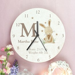 P1011C22 2 Personalised Hessian Rabbit Shabby Chic Large Wooden Clock - Personalised Hessian Rabbit Shabby Chic Large Wooden Clock