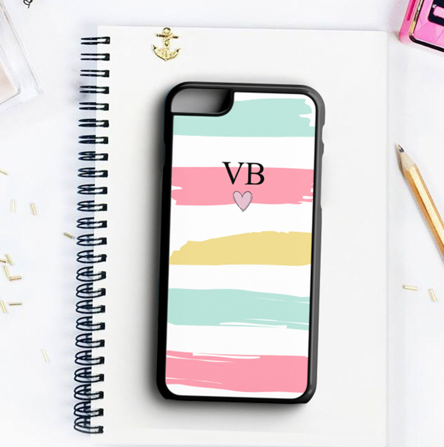 release date: f117f 0015e Personalised Initials Strips Phone Case · Personalised Gifts