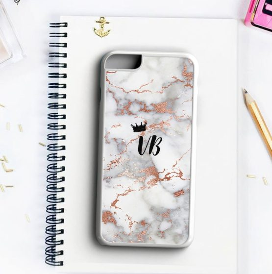 Marble Gold Crown Initials MCN105 Iphone 7 white - Personalised Initials Marble Wedding Phone Case