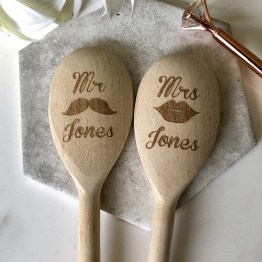 Mr Mrs Wedding Name Wooden Spoon - Personalised Mr & Mrs Wedding Wooden Spoon