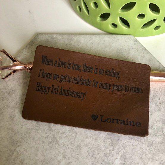 Brown Leather Insert Card - Personalised Brown Leather Wallet Insert Card
