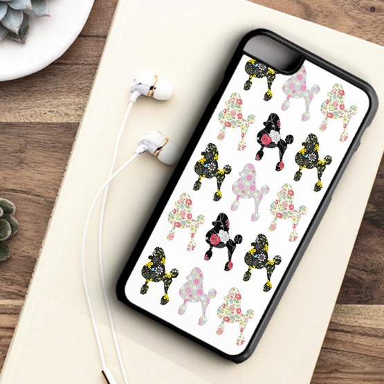 website P101 Poodle Dog Flowers Pattern Iphone 7 black - Poodle Dog Beautiful Flower Pattern Phone Case