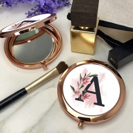 Floral Letter Round Rose Gold Compact Mirror - Floral Letters Alphabet Rose Gold Compact Mirror