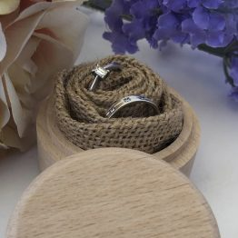 Hessian ring box - Personalised Names & Date Wooden Wedding Ring Box