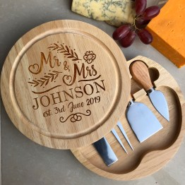 Mr Mrs Name Date Apollo Round Cheese Board - Personalised Wedding Name & Date Cheese Chopping Board with Cheese Knives