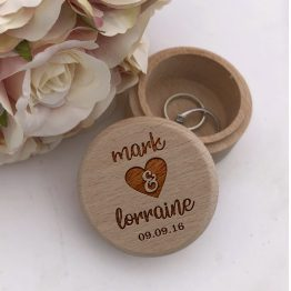 Names Heart Date Ring Box - Personalised Wooden Wedding Ring Box